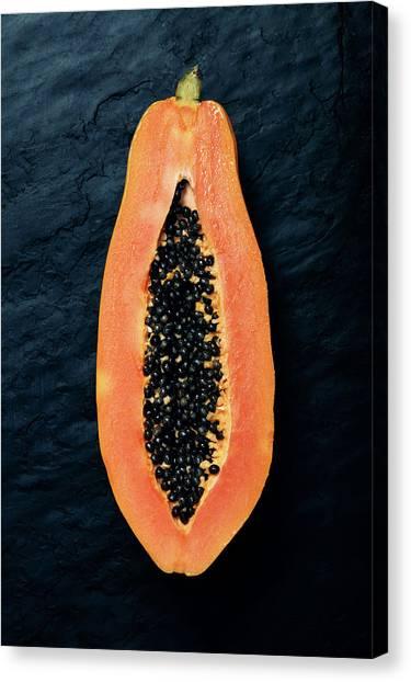 Half Life Canvas Print - Papaya Cross-section On Dark Slate by Johan Swanepoel