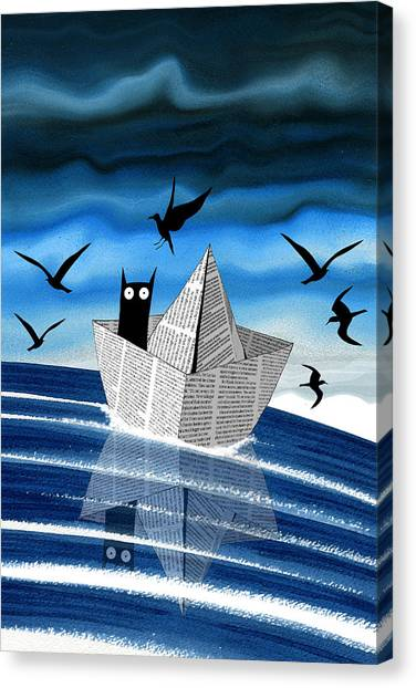 Seagulls Canvas Print - Paper Boat  by Andrew Hitchen