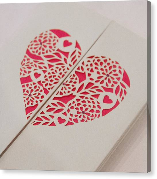 Paper Cut Heart Canvas Print