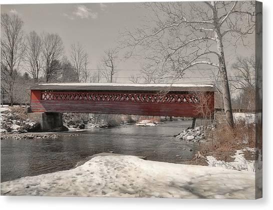 Paper Mill Village Bridge Canvas Print by JAMART Photography