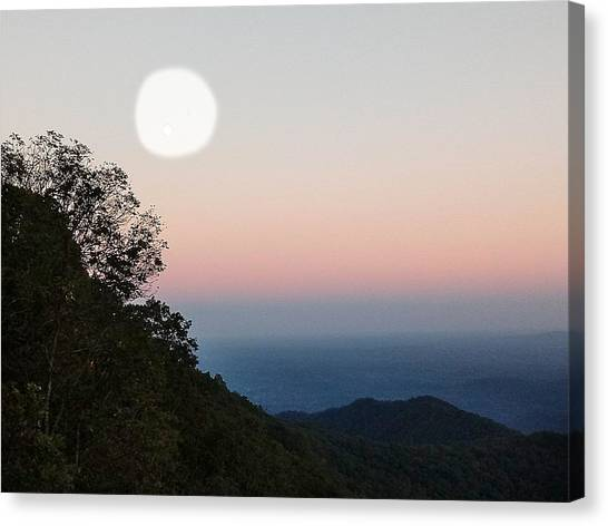 Paper Moon Over Blue Ridge Canvas Print