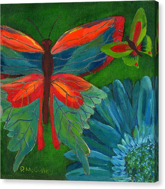 Papillon Vert - Green Butterfly Canvas Print by Debbie McCulley