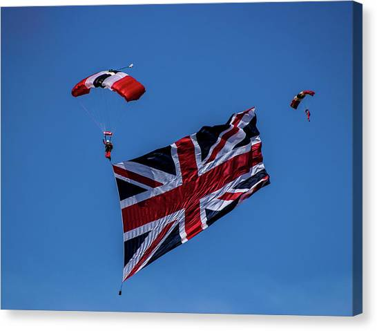 Skydiving Canvas Print - Parachutist by Martin Newman