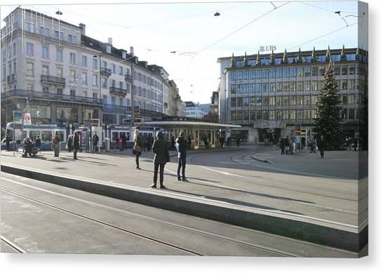 Rail Travelpics Canvas Print - Paradeplatz - Bahnhofstrasse, Zurich by Travel Pics
