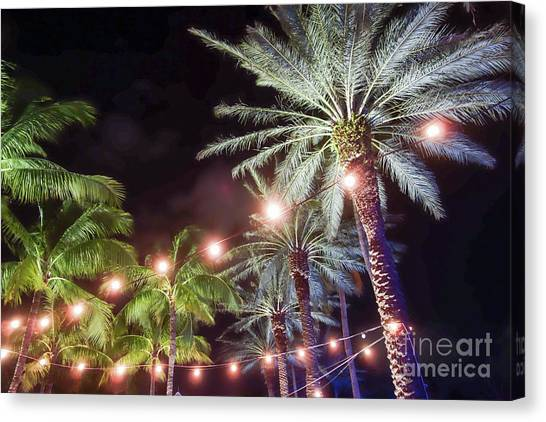 Canvas Print featuring the photograph Paradise By Night by Wilko Van de Kamp