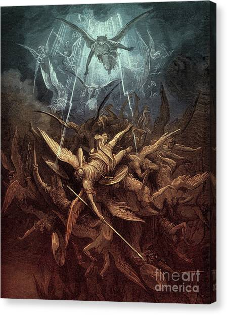 Tumbling Canvas Print - Paradise Lost,  Fall Of The Rebel Angels, by Gustave Dore