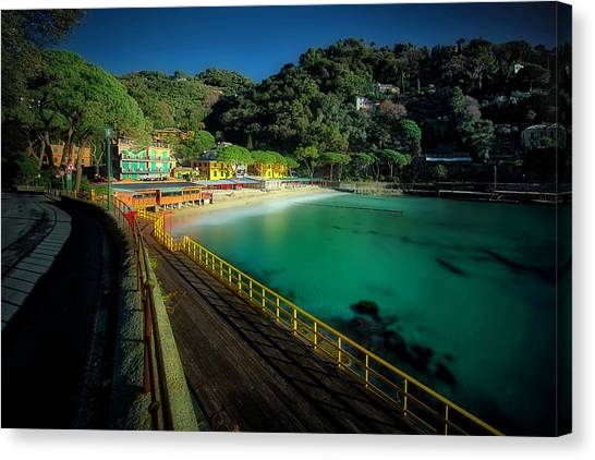 Canvas Print featuring the photograph Paraggi Bay Beach And Portofino Park by Enrico Pelos