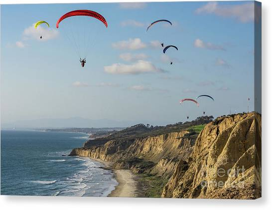 Paragliders At Torrey Pines Gliderport Over Black's Beach Canvas Print