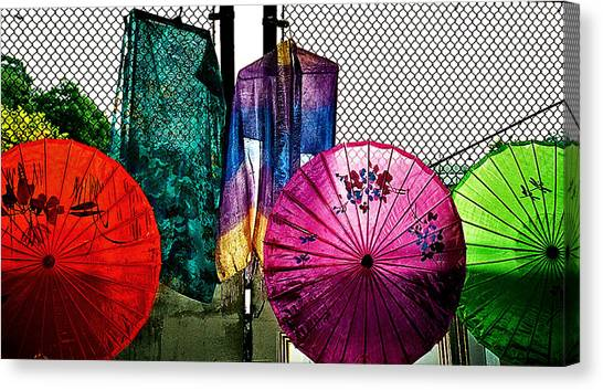 Parasols At A Flea Market Canvas Print