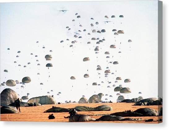 Contra Canvas Print - Paratroopers From The 82nd Airborne by Everett