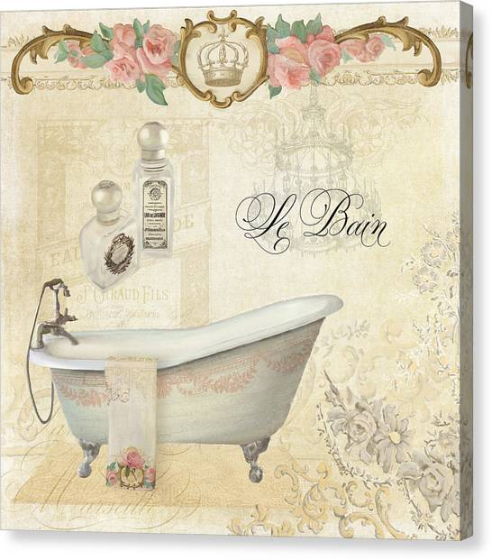 Border Wall Canvas Print - Parchment Paris - Le Bain Or The Bath Chandelier And Tub With Roses by Audrey Jeanne Roberts