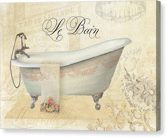 Rococo Art Canvas Print - Parchment Paris - Le Bain Vintage Bathroom by Audrey Jeanne Roberts