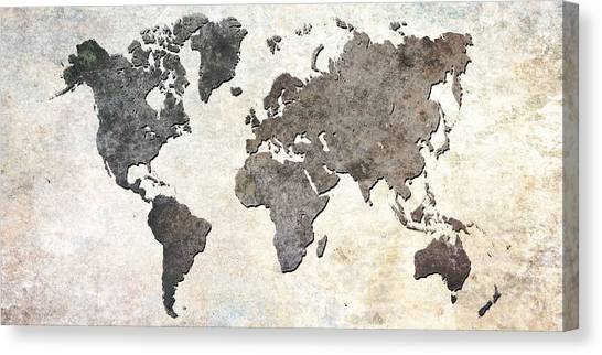 Gray Canvas Print - Parchment World Map by Douglas Pittman