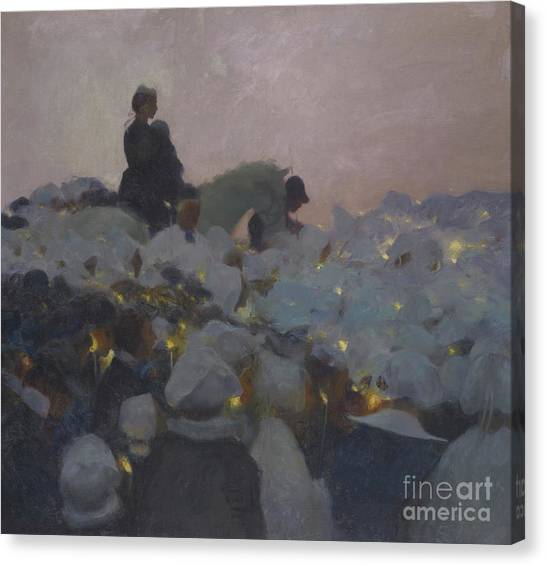 Glowing Canvas Print - Pardon In Brittany by Gaston de La Touche