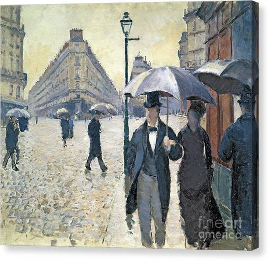 Street Scenes Canvas Print - Paris A Rainy Day by Gustave Caillebotte
