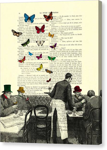 French Canvas Print - Inside Of A French Bistro At Paris And Rainbow Butterflies by Madame Memento