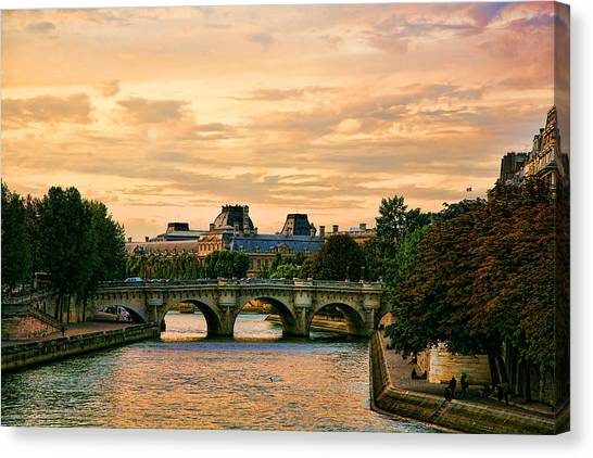 Paris At Sunset The Seine River  Canvas Print