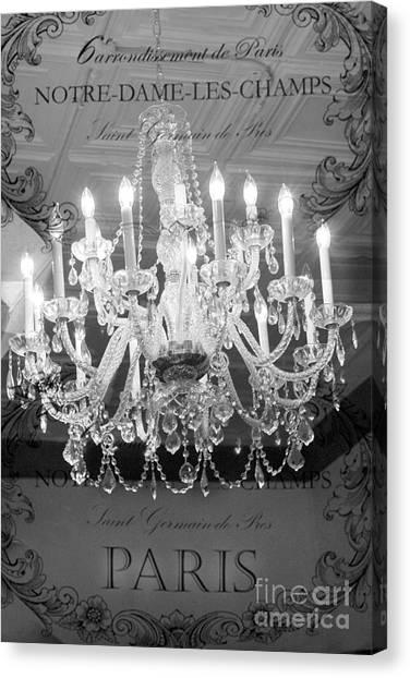 Paris Black And White Crystal Chandeliers - French Parisian Black White Crystal Chandelier Art Canvas Print