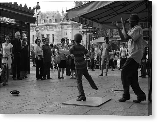 Tap Dance Canvas Print - Paris Buskers by Kenneth Russell