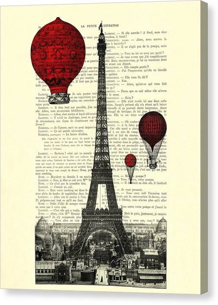Eiffel Tower Canvas Print - Paris, City Of Love by Madame Memento