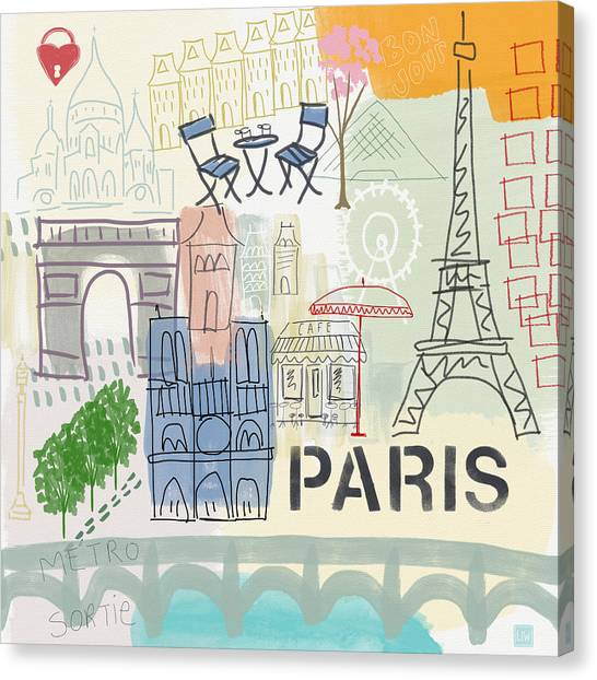 Map Canvas Print - Paris Cityscape- Art By Linda Woods by Linda Woods