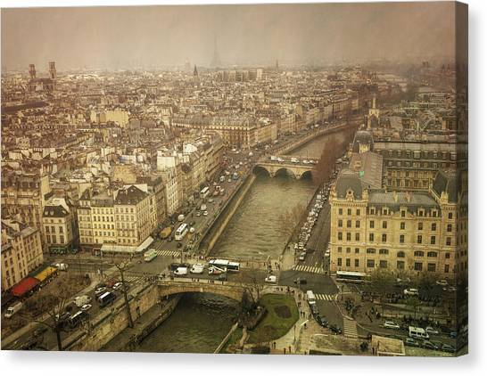 Paris Skyline Canvas Print - Paris Cityscape by Joan Carroll