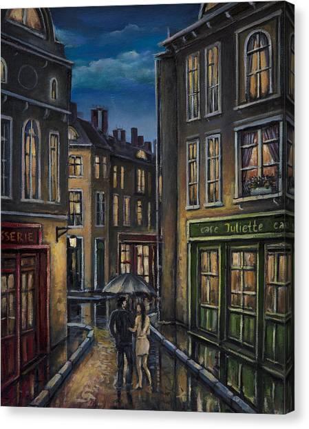 Paris Couple At Night Street Scene Canvas Print