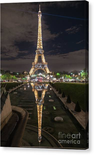 Paris Canvas Print - Paris Eiffel Tower Dazzling At Night by Mike Reid