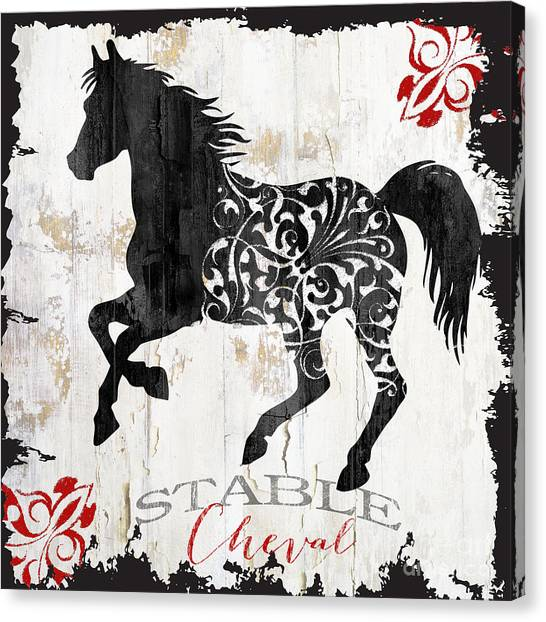 Horse Farms Canvas Print - Paris Farm Sign Horse by Mindy Sommers
