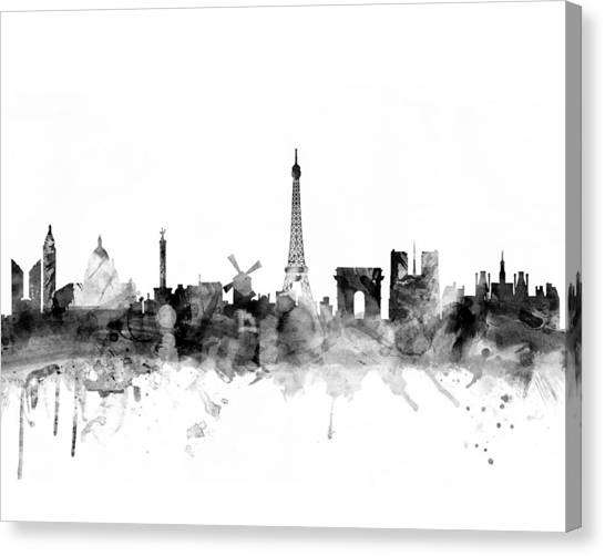 Paris Skyline Canvas Print - Paris France Skyline 4x5 Ratio by Michael Tompsett