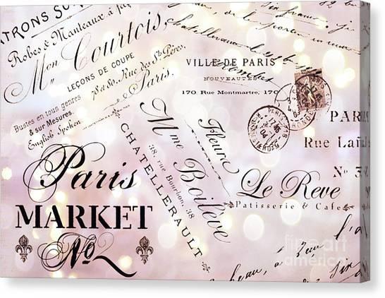 Parisian Canvas Print - Paris French Script Wall Decor - French Script Letters Typography - Paris French Script Wall Decor by Kathy Fornal