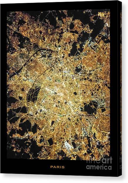 Paris Night Canvas Print - Paris From Space by Delphimages Photo Creations