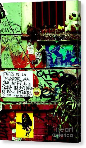 Paris Graffiti Canvas Print by Louise Fahy
