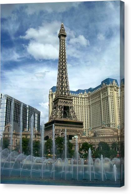 Paris Hotel And Bellagio Fountains Canvas Print