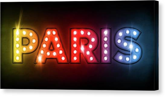 Neon Canvas Print - Paris In Lights by Michael Tompsett