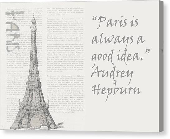 Hepburn Canvas Print - Paris Is Always A Good Idea, Audrey Hepburn by Vel Verrept