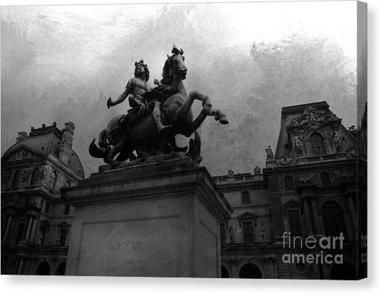 The Louvre Canvas Print - Paris King Louis Xiv Louvre Palace Monument - Paris French Kings  by Kathy Fornal
