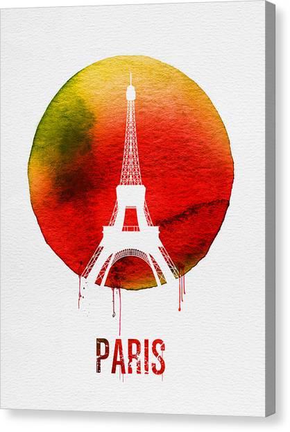 Paris Skyline Canvas Print - Paris Landmark Red by Naxart Studio