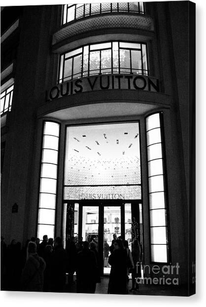 Paris Night Canvas Print - Paris Louis Vuitton Boutique - Louis Vuitton Paris Black And White Art Deco by Kathy Fornal