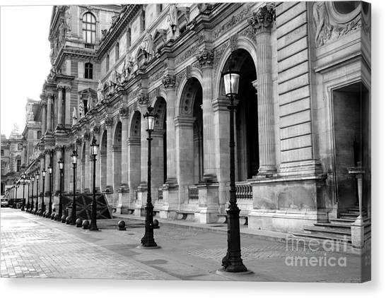 Louvre Canvas Print - Paris Louvre Black And White Architecture - Louvre Lantern Lights by Kathy Fornal