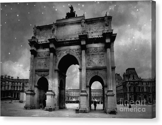 The Louvre Canvas Print - Paris Louvre Entrance Arc De Triomphe Architecture - Paris Black White Starry Night Monuments by Kathy Fornal