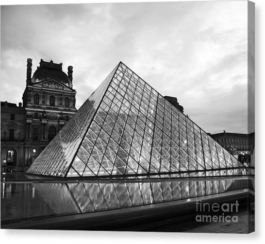 The Louvre Canvas Print - Paris Louvre Museum Pyramid Black And White - Paris Pyramid Twilight Sparkling Night Lights by Kathy Fornal