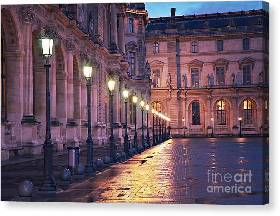 The Louvre Canvas Print - Paris Louvre Museum Street Lanterns Night Landscape - Louvre Museum Architecture Rainy Night Lights  by Kathy Fornal