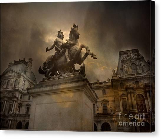 The Louvre Canvas Print - Paris - Louvre Palace - Kings Of Paris - King Louis Xiv Monument Sculpture Statue by Kathy Fornal