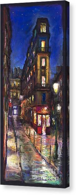 Pastel Canvas Print - Paris Old Street by Yuriy Shevchuk