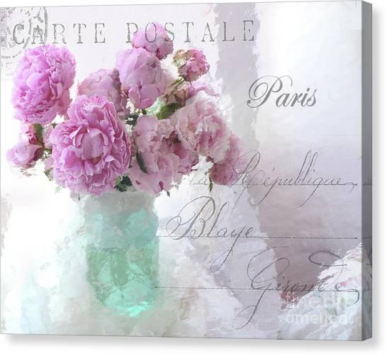 Impressionistic Canvas Print - Paris Peonies - Parisian Pink Peonies Pink Aqua French Decor - Paris Floral Wall Art Home Decor  by Kathy Fornal