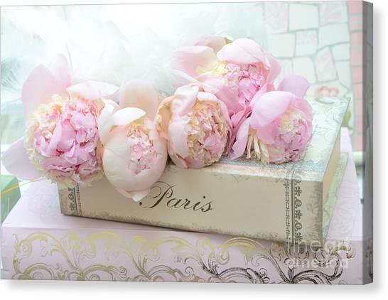Paris Pink Peonies Romantic Shabby Chic French Market Peonies - Paris Romantic Peonies And Book Art Canvas Print