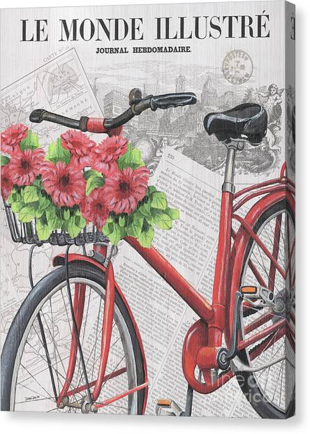 Bicycle Canvas Print - Paris Ride 2 by Debbie DeWitt