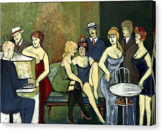 Paris Salon Scene Women In Seductive Cloths Impressionistic Piano Hats Table Chair Mustache  Canvas Print