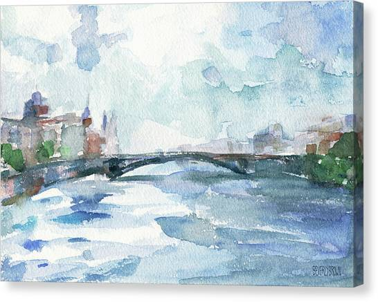 Paris Seine Shades Of Blue Canvas Print